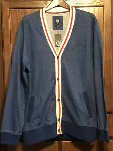 Cavi Men's Button-Front Cardigan Sweater Blue/ White/ Red XL ( New)
