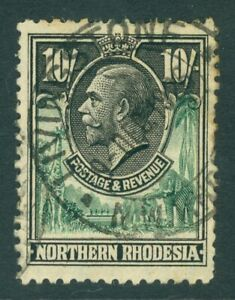 SG 16 Northern Rhodesia 1925. 10/- green & black. Fine used CAT £100