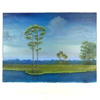 B. MILLER Original Oil Painting Canvas Art Florida Landscape Water River Signed