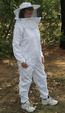 Beekeeping - white full bee suit/overalls, zipped hat/veil combo, zippered front
