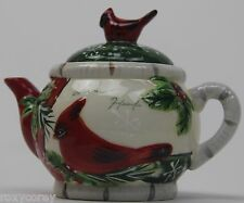 Yankee Candle Holly Cardinal Birds Christmas Teapot with Lid Votive Holder 4.5x5