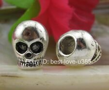 10Pcs Tibetan Silver Skull Charms Spacer Beads Jewelry Findings 12MM B749