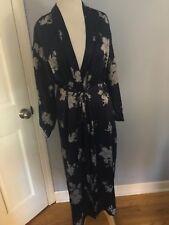 Jones New York women's belted Robe bathrobe Satin navy blue floral M medium