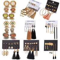 6 Pairs/Set Boho Style Chic Women Tassel Crystal Ear Stud Dangle Hook Earrings