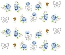 Nail Art Decals Transfers Stickers Valentines Blue Roses Bows (A-334)