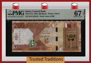 TT PK 37a 2020 QATAR CENTRAL BANK 200 RIYALS PMG 67 EPQ SUPERB GEM UNCIRCULATED!
