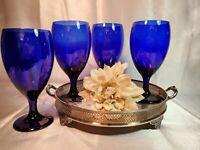 Vintage Libbey Cobalt Blue Water / Wine / Tea Goblet Glasses (Set of 4)