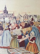 Fernand PIET 1869-1942 Un Marché en Zélande L'estampe Moderne art nouveau XIXe