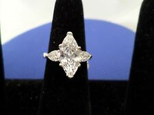 Large Marquise Ring with trillion bagettes, 925 solid sterling silver