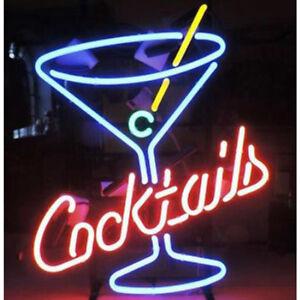 "17""x14""Cocktails Martini Neon Sign Light Handmade Visual Artwork Real Glass Tube"