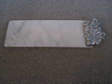 Arthur Court White Marble Cheese Tray Board Aluminum Elephants Signed 1987 w/box