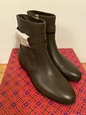 Tory Burch Gemini Link Ankle Boots Bootie Coconut Brown Leather Size 7 Medium