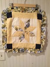 "Yellow Quilted Throw Pillow Covers Star Ruffled 19"" French Country Quilt Block 2"