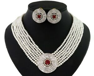 Ruby Cubic Zirconia Designer Necklace Earring Set 212 RN 8