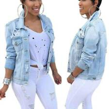 Womens Oversized Ripped Denim Jacket Jeans Stretch Fitted Buttons Jackets Coats