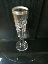 ART DECO CUT GLASS BUD / ROSE VASE WITH SILVER RIM HALLMARKED 1907