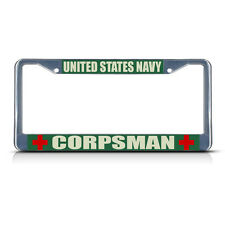 UNITED STATES NAVY CORPSMAN MILITARY Chrome Metal License Plate Frame Tag Border