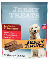 Jerky Treats Tender Beef Strips Dog Snacks 60oz, Vitamins, Minerals & Omega 3