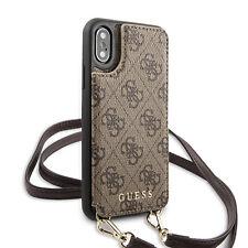 Guess iPhone XS / X 4G Schultergurt Hülle Crossbody Cardslot Case Cover Braun