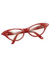 Red 50s 60s Style Rock N Roll Dame Edna Specs Fancy Dress Glasses Ladies Girls