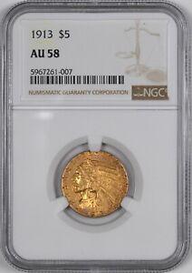 1913 Five Dollar Gold Indian Half Eagle $5 - NGC AU58 -