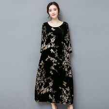 Women Vintage Velvet Dress Long Loose Floral Long Sleeve Chinese Style Retro