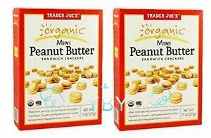 2 Packs Trader Joe's Organic Mini Peanut Butter Sandwich Crackers 7.5 oz Each