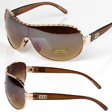 New DG Mens Womens Designer Shield Mirrored Sunglasses Fashion Brown Gold Metal