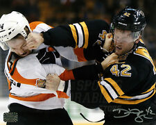 David Backes Boston Bruins Signed Autographed Fight vs Flyers Couturier 8x10