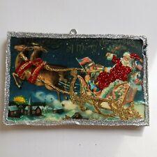 Vtg Image~Santa Sleigh~Christmas Glitter Wood Ornament