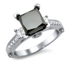 Diamond Engagement Ring 925 Sterling Silver 2.45 Ct Princess Cut Black 3 Stone
