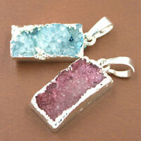 Natural Crystal Agate Geode Stone Pendant Necklace Bracelets Jewelry Making DIY