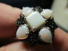 STERLING SILVER ESTATE NEW WHITE FIRE OPAL FLOWER SPINEL COCKTAIL RING SIZE 9