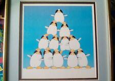"Vintage ""Freds Pyramid"" Penguins Fun Cartoon Stewart Moskowitz Matted & Framed"