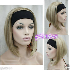 Onorevoli marrone chiaro biondo misto con Cerchietto Donna 3/4 Mezza parrucca meravigliosa Cosplay Parrucche