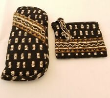 VERA BRADLEY Soft Double Eyeglass Case and Zippered Change Purse in Zebras Black
