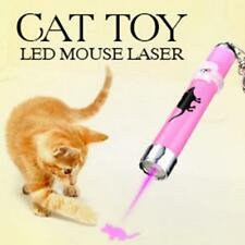 Pet Play Funny Cat Toy LED Light Laser Pointer Pen w/ Bright Mouse Animation WT