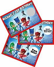 PJ MASKS PERSONALIZED SCRATCH OFF OFFS PARTY GAME GAMES CARDS BIRTHDAY FAVORS