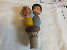 Vintage Carved Wood Mechanical Kissing Couple Cork Wine Bottle Stopper Wow