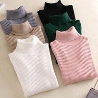 Women Fall Winter Turtleneck Sweater Warm High Elastic Pullover Sweater Slim Fit