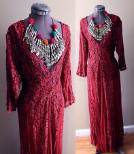 VTG 90s Deep V neck Grunge Revival Boho Lace Gypsy Hippy Festival Maxi Dress