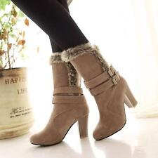 Women's Short Boots Suede Fur Lined High Heel Mid-calf Booties Round Toe Shoes