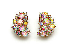 Clip On Earrings Stunning AB Rhinestone Crystal