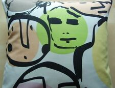 "16"" NEW CUSHION COVER IKEA FACES RETRO VINTAGE FUNKY BLACK ORANGE YELLOW GREEN"