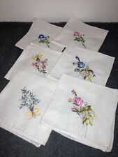 Handkerchiefs Vintage White with Shades of Pink / Blue Embroidery Lot 6 Hankies