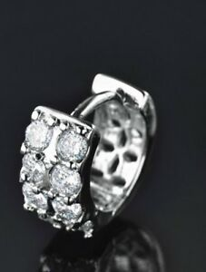 18K Gold Diamond White Single Gents Hoop Huggie Earring 15mm         370