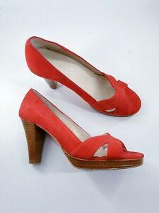Boden size 4 (37) red suede peeptoe platform block heel court shoes