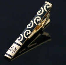 High Quality Trendy Stainless Steel Enamel Tie Clip Black & Gold Fashion Jewelry