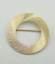 "14K Yellow Gold Spiral Starburst Round Brooch Pin 1.25"" 5.4g S2508"