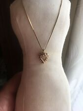 14 k Solid Yellow Gold  Heart Ruby Diamonds Necklace Pendent Beautiful